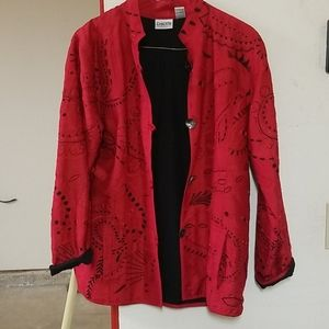 Size 2 Chico's Dress Jacket Black and Red Buttoned